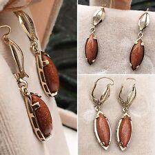 VTG Natural Cabochon Sunstone Sandstone Solid 10k YG Gold Dangle Earrings Estate