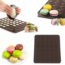 Large 30 Macarons/Muffins Silicone Baking Pastry Sheet Mat Cup Cake Mold Tray EW
