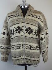 Men's Vintage COWICHAN Full Zip Big Lebowski Shawl Collar Sweater Large