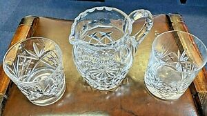 Whisky Cut Glass water Jug, with His and Hers cut glass glasses, high quality