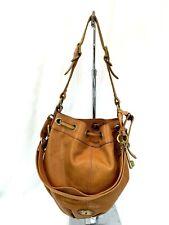 FOSSIL Maddox Brown Leather Large Crossbody Drawstring Bucket Shoulder Bag EUC