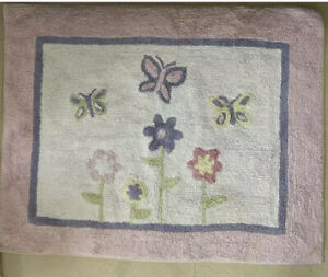 Girls Baby Kid Floor Rug for Sweet Jojo Pink Purple Butterfly Flower Bedding Set