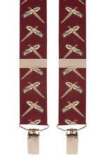 Bird Burgndy Wine Pheasant Trouser Braces Novelty Mens Suspenders