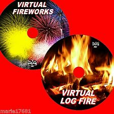 RELAXING VIRTUAL LOG FIRE+FIREWORKS GREA TTO VIEW ON FLATSCREEN TV/PC NEW 2 DVDS