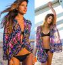 Women Sexy Cardigan Print Chiffon Swimwear Bikini Beach Cover UP Swimsuit New
