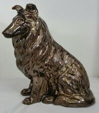 Vintage Brown Collie Lady Dog Pottery Glass Glazed Figurine Figure Statue 10""