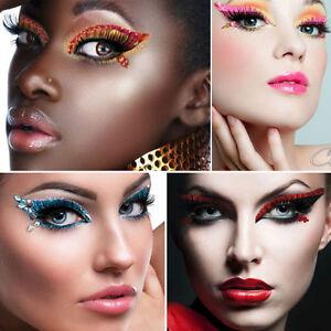 Colorful Xotic Eyes Women Reusable Adhesive Crystal Eye Makeup Costume Burlesque
