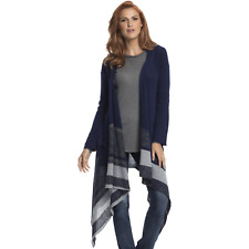 Elan Women's Plus Long High/Low Striped Cardigan Sweater Denim 3X #NKUS9-1088