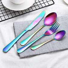 4 Pcs/Set Gold Plated Dinnerware Stainless Steel Cutlery Knife Fork Spoon Kit