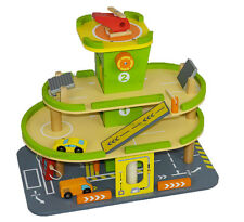 New Large Wooden Parking Garage Toy Play Set Car Helipad Tower Parking Lot