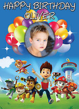 LARGE BIRTHDAY PAW PATROL THEMED POSTER BANNER - PERSONALISED ADD TEXT PHOTO