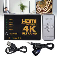 5 in 1 HDMI Splitter Switch Adapter Switcher 4K Ultra HD HDCP 3D HDR Remote US