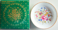 "Vintage 1982 Avon / Royal Worcester FLORAL CANDY DISH - 4.5"" Porcelain + Box"