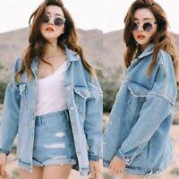 Women's Denim Jacket Casual Oversize Loose Jeans Coat Outwear Korean Style New