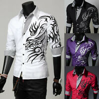 Men Dragon Casual Dress Shirt Slim Fit Formal Tops Party Clubwear T-shirt Blouse