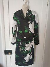 Jigsaw BNWOT Crepe Silk Black Floral Dress Size 8