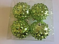 4 Chartreuse Green Christmas Shatter Resistant 4 In Ball Ornament Decorations