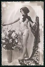 French nude woman unveiled Art Deco brunette original c1920s photo postcard