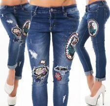 Damen Röhren Jeans Stretch bunte Aufnäher Patches Strass 34 36 38 40 42 in blau