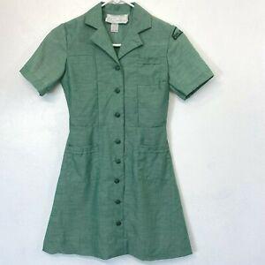 Vintage Girl Scout Uniform Dress Girls size 8 Green with Shoulder Patch KC