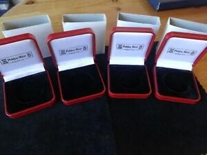 4 X NEW POBJOY MINT RED PRESENTATION BOX'S + COVERS FOR POBJOY CROWN SIZE COINS