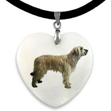 Catalan Sheepdog Natural Mother Of Pearl Heart Pendant Necklace Chain Pp157