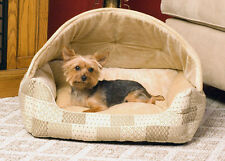 K&H Hooded Lounge Sleeper Cat Dog Pet Bed Tan Patchwork Eco-Friendly