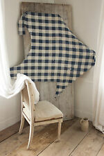 Antique French primitive timeworn indigo blue check fabric linen cotton blend
