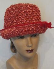 Vintage Red Straw High Crown Hat