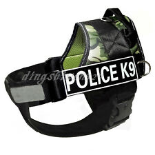 POLICE Reflective Service Dog Chest Plate Vest Harness Padded Choose 2 Patches