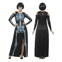 Smiffys Womens X-Ray Skeleton Ankle Length Spooky Halloween Fancy Dress Costume