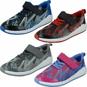 Childrens Clarks Casual Hook & Loop Textile & Synthetic Trainers Aeon Pace