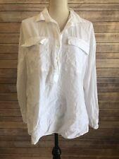 Old Navy Womens Boyfriend Half Way Button Up White Long Sleeve Sheer Shirt Sz M