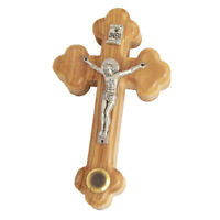 "Wall Cross Olive Wood w/ Jesus Christ Crucifix & Holy Soil Jerusalem 3.9""/10cm"