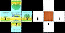 3190-A-D BRAZIL 2011 TREE OF BRAZIL, UNUSUAL, WOOD GLUED ON THE BACK, SET MNH