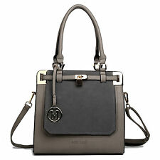 Grey Ladies Designer Leather Tote Shoulder Satchel Handbag Padlock Bag
