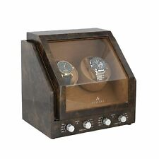 Double Watch Winder in Dark Burl Wood Premier - Range by Aevitas