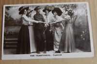 """Postcard Pre WW1 Military Humour The Territorial """" Captured """" Real photo 1909"""