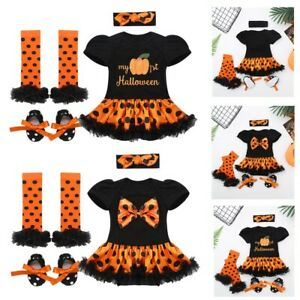 4PCS Newborn Baby Girls Romper Halloween Outfit Costume Short Sleeves Tutu Skirt