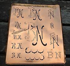 """Monogramm """" BN """" Wäschemonogramm Wäscheschablone Wäschezeichen 11/13 cm KUPFER"""