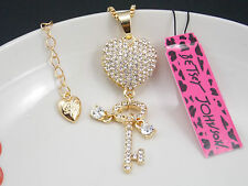 Betsey Johnson Cute fashion inlay Crystal Heart Key Pendant Necklace # B