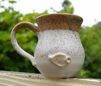 Hand Made Pottery Art Coffee Mug Signed Brown Beige Leaf Dipped Speckled