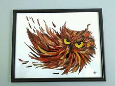 Owl Original hand painting on glass artist V.Kovtun 11x14 in. UNIQUE GIFT