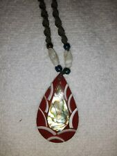 Red & White teardrop shell Necklace/Pendant from Eucador