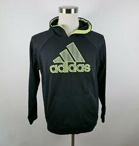 Adidas Boys Polyester LS Black Neon Yellow Hoodie Sweatshirt Youth Large