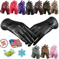 USA Leather Gloves Sheep Skin Windproof Comfort Lining Gloves Winter Warm Gift