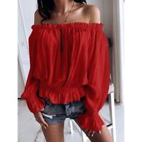 Women Flare Sleeve Plus Size T-shirt Off The Shoulder Cute Top Long Sleeve Shirt