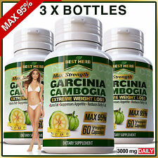 180 Garcinia Capsules Weight Loss Diet Ultra Pure 3000mg Daily Slimming Natural