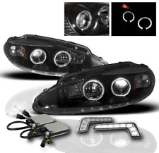 1998-2004 DODGE INTREPID BLACK HALO PROJECTOR HEADLIGHTS+WHITE LED DRL+6000K HID