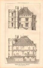 1871 ANTIQUE ARCHITECTURE, DESIGN PRINT- CHATEAU NEAR ODESSA, 2 PRINTS